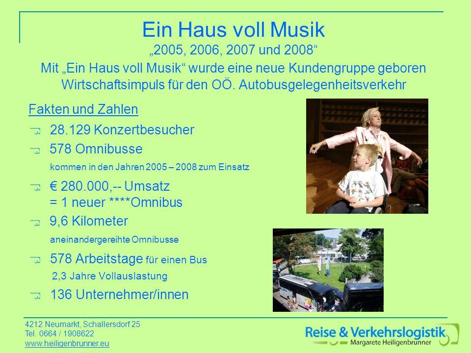 Ein Haus voll Musik 2005, 2006, 2007 und 2008 Mit Ein Haus voll Musik wurde eine neue Kundengruppe geboren Wirtschaftsimpuls für den OÖ. Autobusgelege
