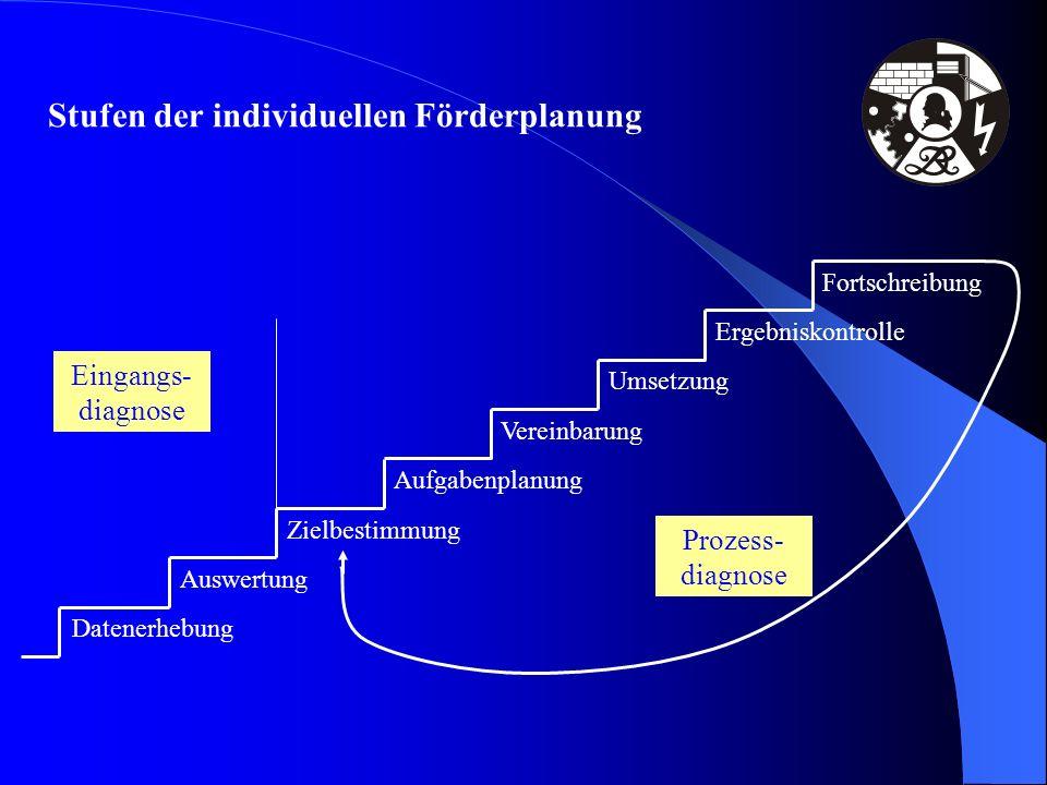 Stufen der individuellen Förderplanung Datenerhebung Auswertung Zielbestimmung Aufgabenplanung Vereinbarung Umsetzung Ergebniskontrolle Fortschreibung