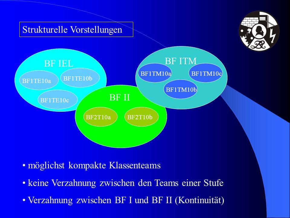 Strukturelle Vorstellungen BF IEL BF II BF ITM BF1TE10aBF1TE10bBF1TE10cBF2T10aBF1TM10aBF2T10bBF1TM10bBF1TM10c möglichst kompakte Klassenteams keine Ve