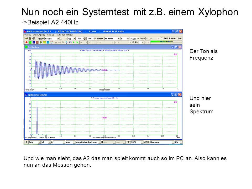 Nun noch ein Systemtest mit z.B. einem Xylophon ->Beispiel A2 440Hz Und wie man sieht, das A2 das man spielt kommt auch so im PC an. Also kann es nun