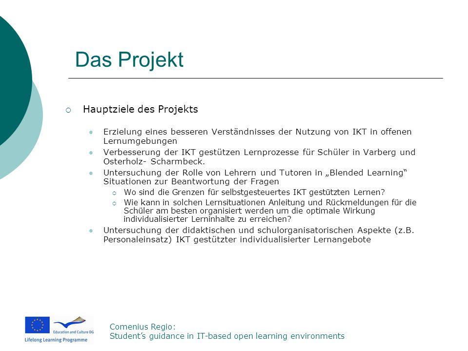 Comenius Regio: Students guidance in IT-based open learning environments Das Projekt Hauptziele des Projekts Erzielung eines besseren Verständnisses d