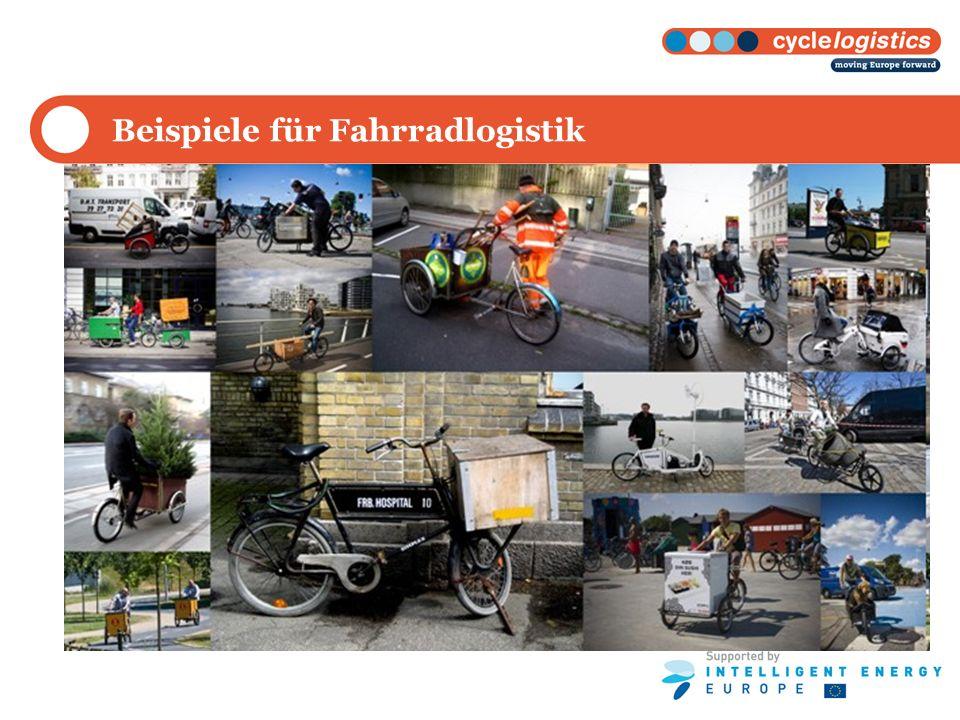 Projektzusammenfassung cyclelogistics zielt darauf ab den Energieverbrauch im städtischen Gütertransports zu vermindern, indem die Nutzung von Fahrrädern zum Transport von Waren gefördert wird.