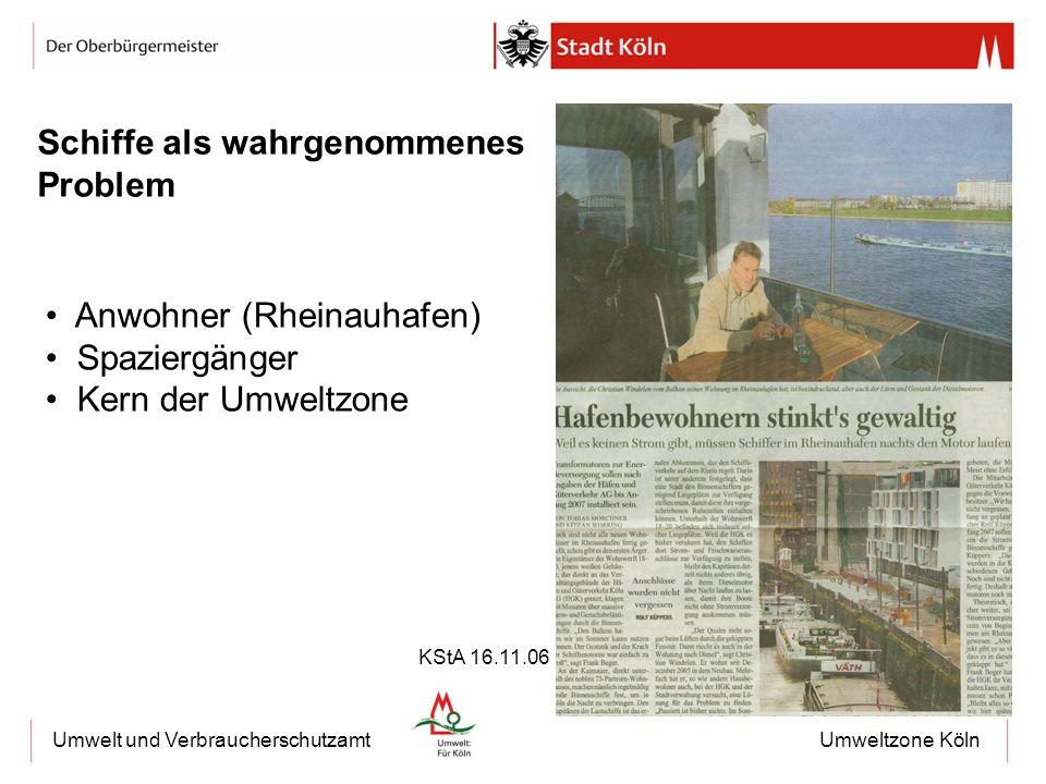 Umweltzone KölnUmwelt und Verbraucherschutzamt Schiffe als wahrgenommenes Problem Anwohner (Rheinauhafen) Spaziergänger Kern der Umweltzone KStA 16.11