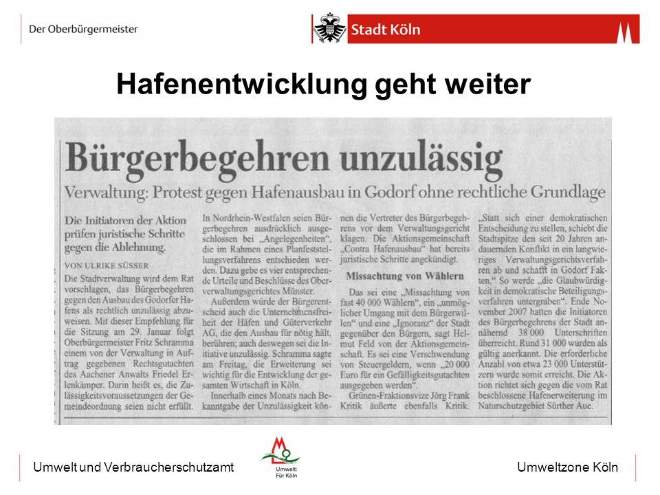 Umweltzone KölnUmwelt und Verbraucherschutzamt Hafenentwicklung geht weiter
