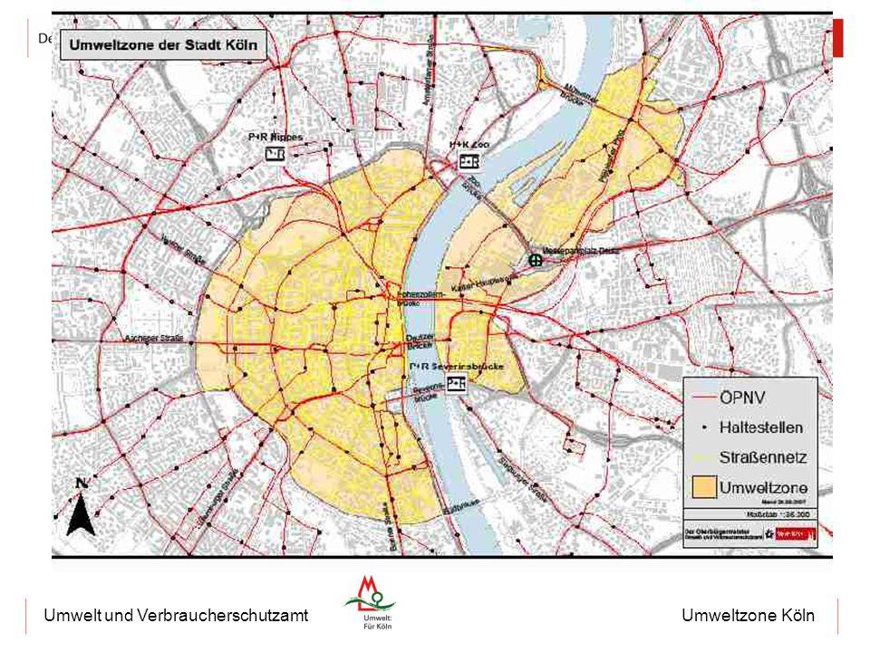 Umweltzone KölnUmwelt und Verbraucherschutzamt Messstelle Clevischer Ring in 2007 61 Überschreitungstage