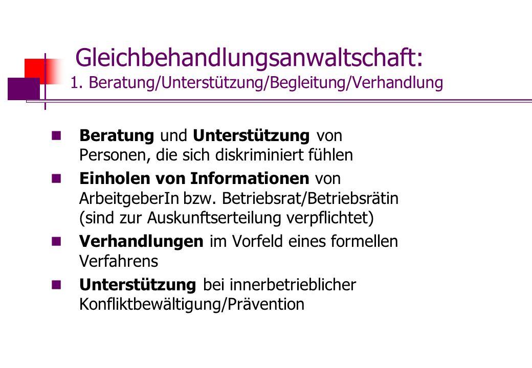 Gleichbehandlungsanwaltschaft: 1. Beratung/Unterstützung/Begleitung/Verhandlung Beratung und Unterstützung von Personen, die sich diskriminiert fühlen