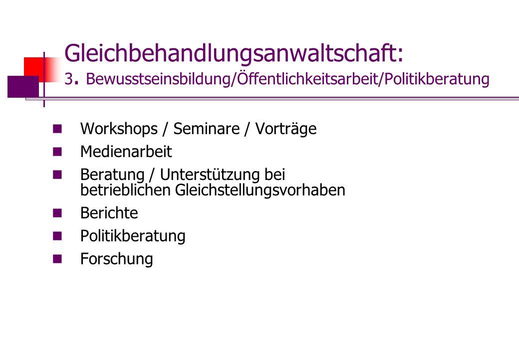 Gleichbehandlungsanwaltschaft: 3. Bewusstseinsbildung/Öffentlichkeitsarbeit/Politikberatung Workshops / Seminare / Vorträge Medienarbeit Beratung / Un