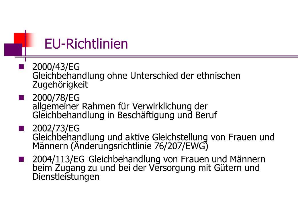 EU-Richtlinien 2000/43/EG Gleichbehandlung ohne Unterschied der ethnischen Zugehörigkeit 2000/78/EG allgemeiner Rahmen für Verwirklichung der Gleichbe