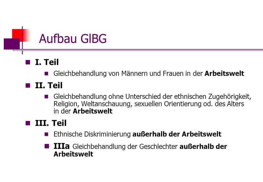 Aufbau GlBG I. Teil Gleichbehandlung von Männern und Frauen in der Arbeitswelt II. Teil Gleichbehandlung ohne Unterschied der ethnischen Zugehörigkeit
