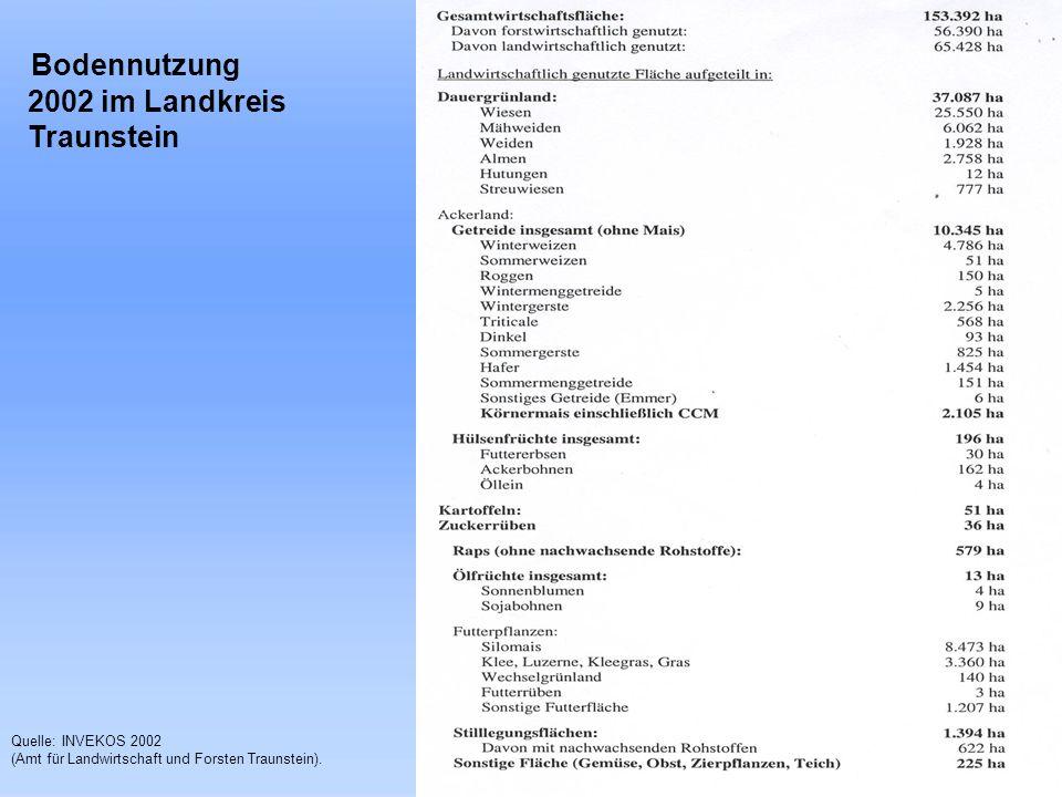 Bodennutzung 2002 im Landkreis Traunstein Quelle: INVEKOS 2002 (Amt für Landwirtschaft und Forsten Traunstein).