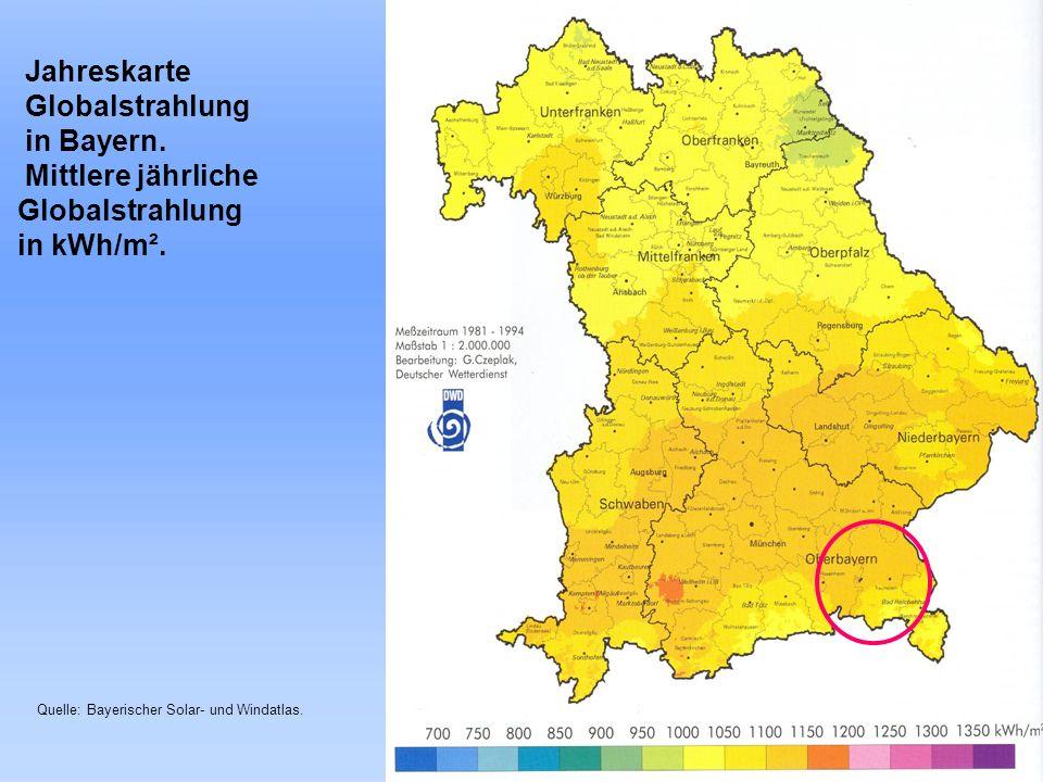 Landkreis Traunstein Jahreskarte Globalstrahlung in Bayern. Mittlere jährliche Globalstrahlung in kWh/m². Quelle: Bayerischer Solar- und Windatlas.