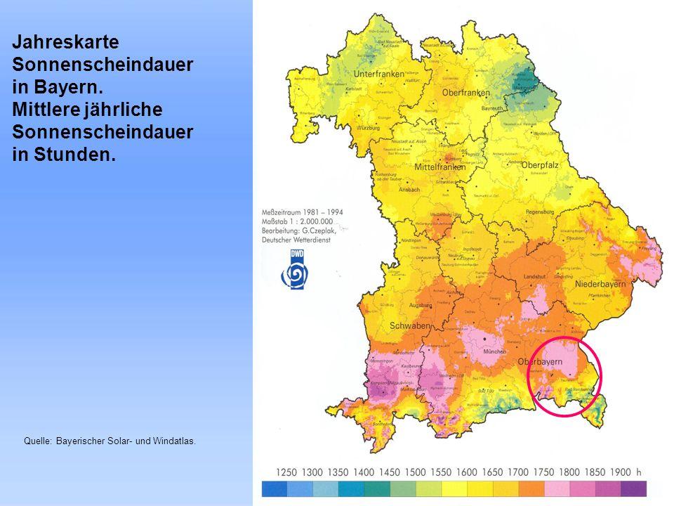 Landkreis Traunstein Jahreskarte Sonnenscheindauer in Bayern. Mittlere jährliche Sonnenscheindauer in Stunden. Quelle: Bayerischer Solar- und Windatla
