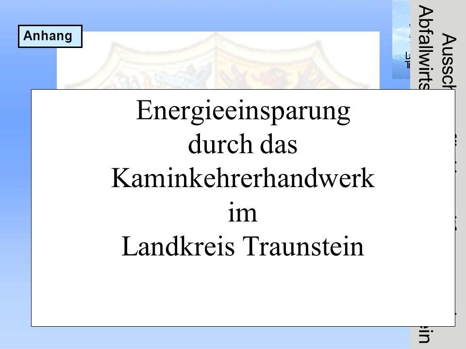 Ausschuss für Umweltfragen und Abfallwirtschaft im Landkreis Traunstein Energieeinsparung durch das Kaminkehrerhandwerk im Landkreis Traunstein Anhang