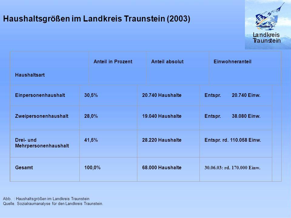 Haushaltsgrößen im Landkreis Traunstein (2003) Haushaltsart Anteil in Prozent Anteil absolut Einwohneranteil Einpersonenhaushalt 30,5% 20.740 Haushalt