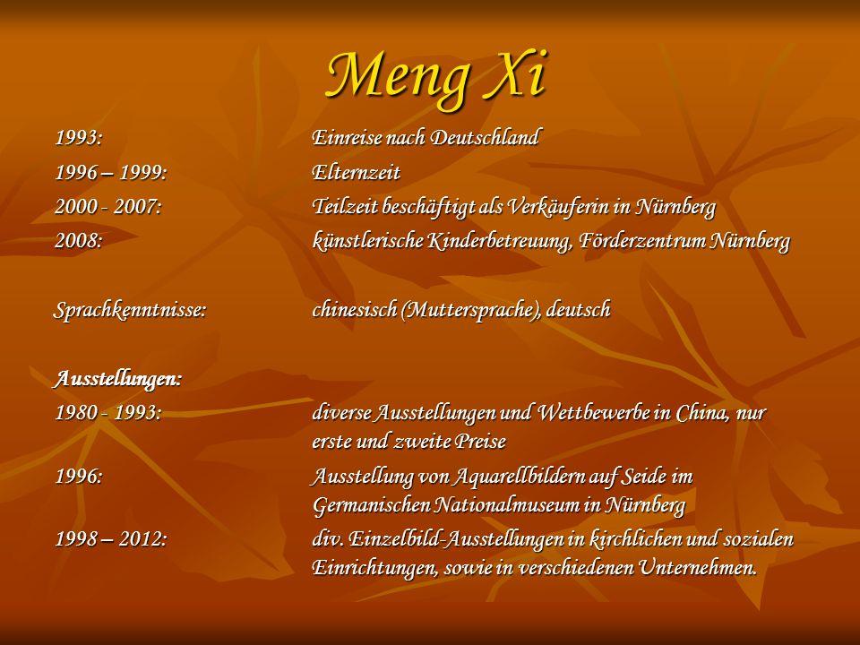 Meng Xi 1993: Einreise nach Deutschland 1996 – 1999:Elternzeit 2000 - 2007: Teilzeit beschäftigt als Verkäuferin in Nürnberg 2008: künstlerische Kinde