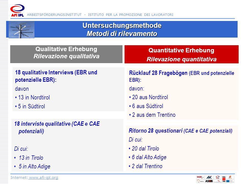 ARBEITSFÖRDERUNGSINSTITUT - ISTITUTO PER LA PROMOZIONE DEI LAVORATORI Internet: www.afi-ipl.org Untersuchungsmethode Metodi di rilevamento Qualitative