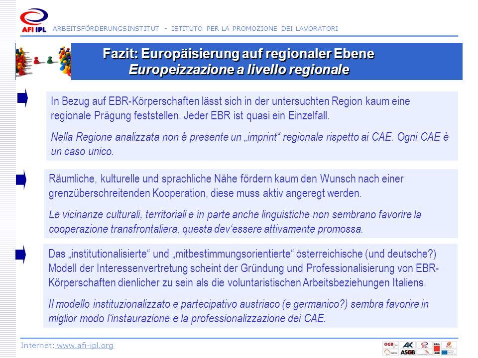 ARBEITSFÖRDERUNGSINSTITUT - ISTITUTO PER LA PROMOZIONE DEI LAVORATORI Internet: www.afi-ipl.org Fazit: Europäisierung auf regionaler Ebene Europeizzaz