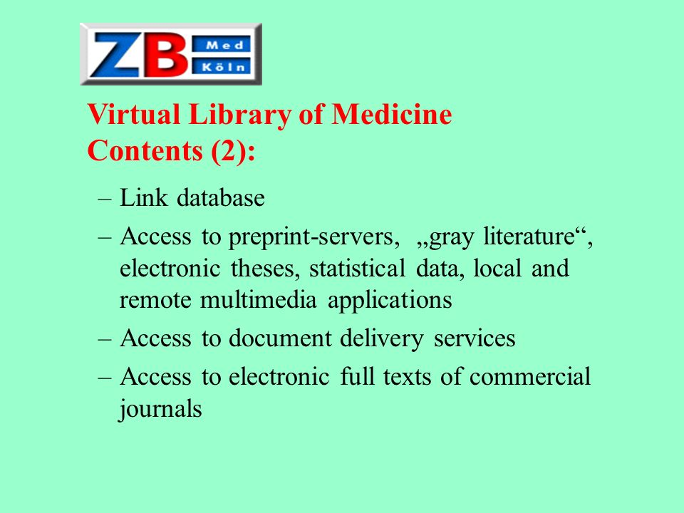 Existing Cornerstones User survey Enriched OPAC Catalogue of electronic journals CCMed Collection of evaluated Internet links Pay-per-view-service