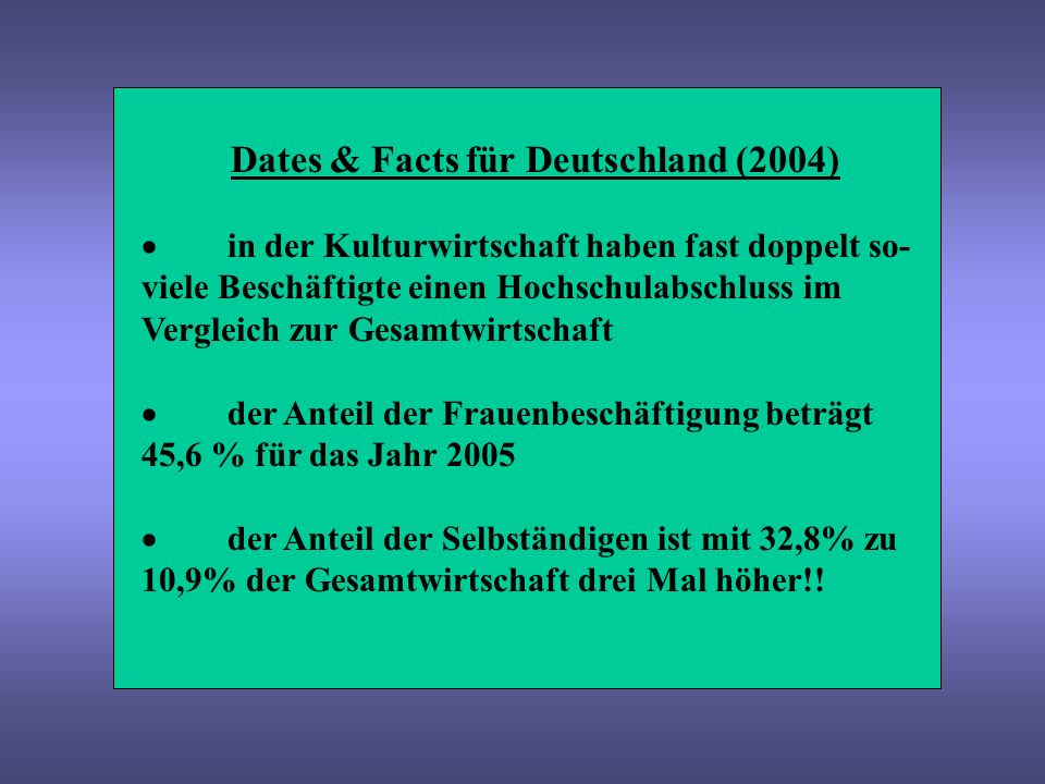 Dates & Facts für Deutschland (2004) in der Kulturwirtschaft haben fast doppelt so- viele Beschäftigte einen Hochschulabschluss im Vergleich zur Gesam