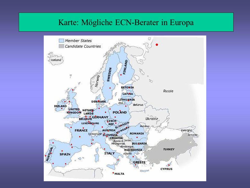 Karte: Mögliche ECN-Berater in Europa
