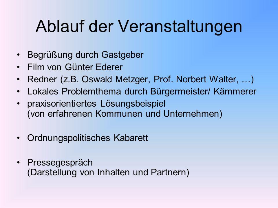 Ablauf der Veranstaltungen Begrüßung durch Gastgeber Film von Günter Ederer Redner (z.B. Oswald Metzger, Prof. Norbert Walter, …) Lokales Problemthema