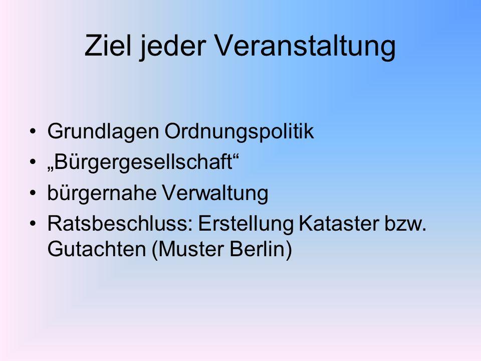 Ziel jeder Veranstaltung Grundlagen Ordnungspolitik Bürgergesellschaft bürgernahe Verwaltung Ratsbeschluss: Erstellung Kataster bzw. Gutachten (Muster