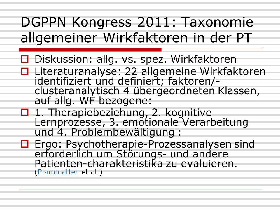 DGPPN Kongress 2011: Taxonomie allgemeiner Wirkfaktoren in der PT Diskussion: allg. vs. spez. Wirkfaktoren Literaturanalyse: 22 allgemeine Wirkfaktore