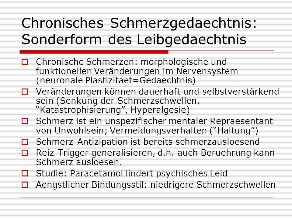 Chronisches Schmerzgedaechtnis: Sonderform des Leibgedaechtnis Chronische Schmerzen: morphologische und funktionellen Veränderungen im Nervensystem (n