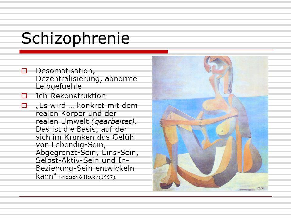 Schizophrenie Desomatisation, Dezentralisierung, abnorme Leibgefuehle Ich-Rekonstruktion Es wird … konkret mit dem realen Körper und der realen Umwelt