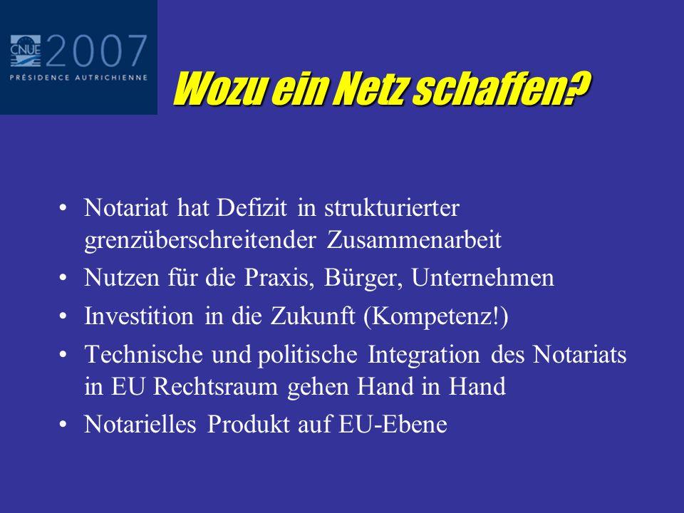 Wozu ein Netz schaffen? EU Rechtsraum betrifft vermehrt Notare Anerkennung und Vollstreckung öffentlicher Urkunden Erbrecht Familienrecht Gesellschaft