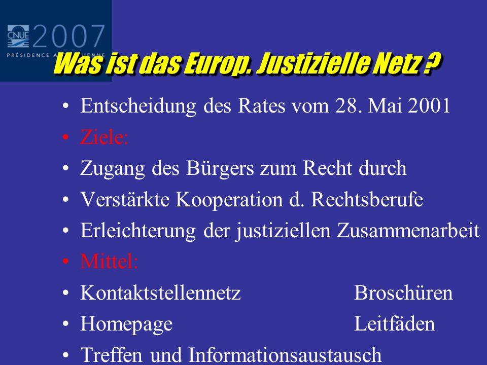 Was ist das Europ.Justizielle Netz . Entscheidung des Rates vom 28.