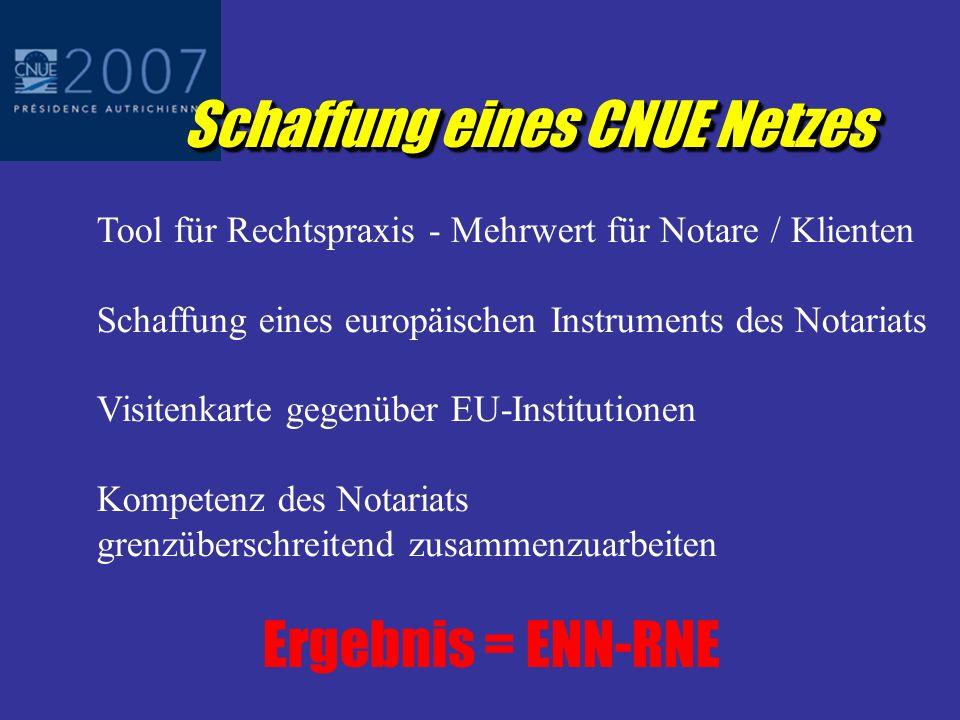 Schaffung eines CNUE Netzes Tool für Rechtspraxis - Mehrwert für Notare / Klienten Schaffung eines europäischen Instruments des Notariats Visitenkarte gegenüber EU-Institutionen Kompetenz des Notariats grenzüberschreitend zusammenzuarbeiten Ergebnis = ENN-RNE