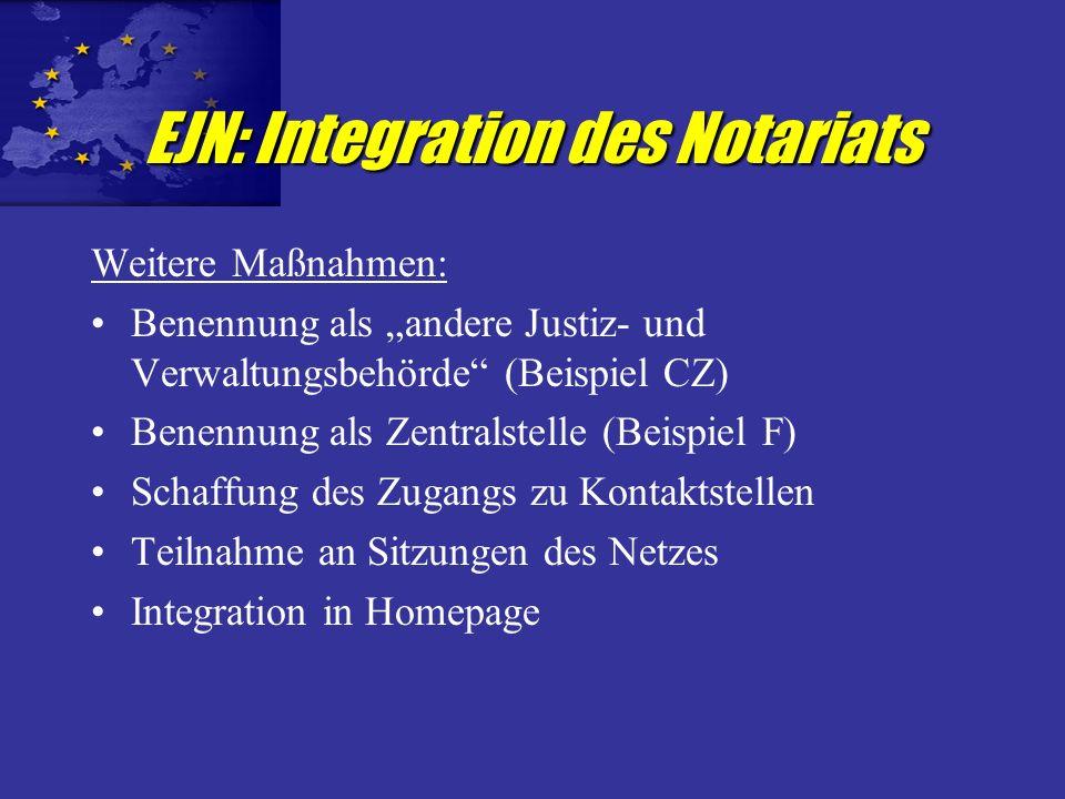 Schaffung eines CNUE Netzes Tool für Rechtspraxis - Mehrwert für Notare / Klienten Schaffung eines europäischen Instruments des Notariats Visitenkarte