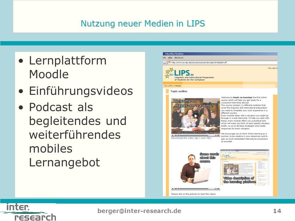 14berger@inter-research.de Nutzung neuer Medien in LIPS Lernplattform Moodle Einführungsvideos Podcast als begleitendes und weiterführendes mobiles Le