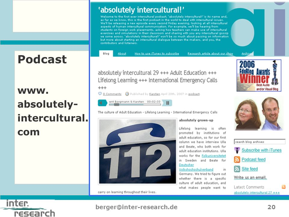 20berger@inter-research.de Podcast www. absolutely- intercultural. com
