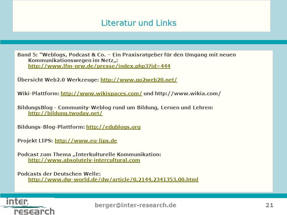 21berger@inter-research.de Literatur und Links Band 5: