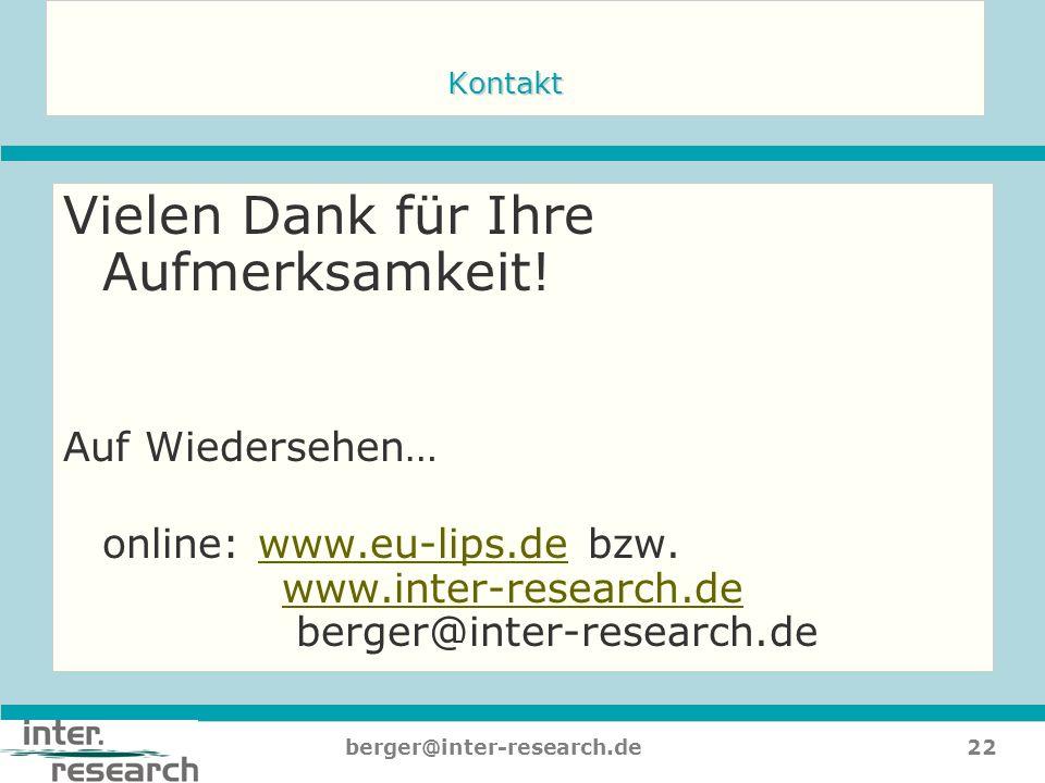 22berger@inter-research.de Kontakt Vielen Dank für Ihre Aufmerksamkeit! Auf Wiedersehen… online: www.eu-lips.de bzw. www.inter-research.de berger@inte