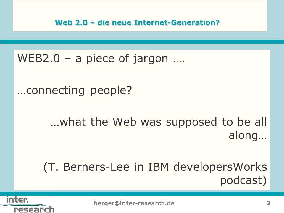4berger@inter-research.de Web 2.0 Vielfalt an Werkzeugen