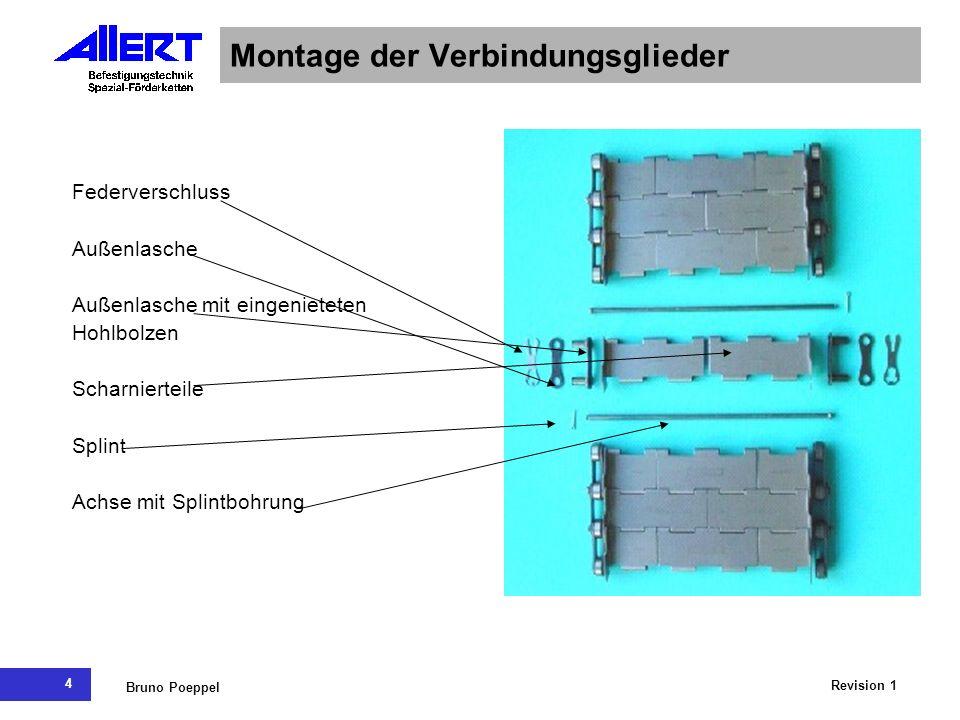 4 Revision 1 Bruno Poeppel Montage der Verbindungsglieder Federverschluss Außenlasche Außenlasche mit eingenieteten Hohlbolzen Scharnierteile Splint A