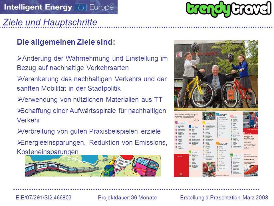 EIE/07/291/SI2.466803 Projektdauer: 36 Monate Erstellung d.Präsentation: März 2008 Ziele und Hauptschritte Die allgemeinen Ziele sind: Änderung der Wa