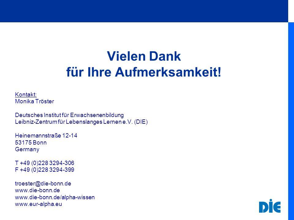 Vielen Dank für Ihre Aufmerksamkeit! Kontakt: Monika Tröster Deutsches Institut für Erwachsenenbildung Leibniz-Zentrum für Lebenslanges Lernen e.V. (D