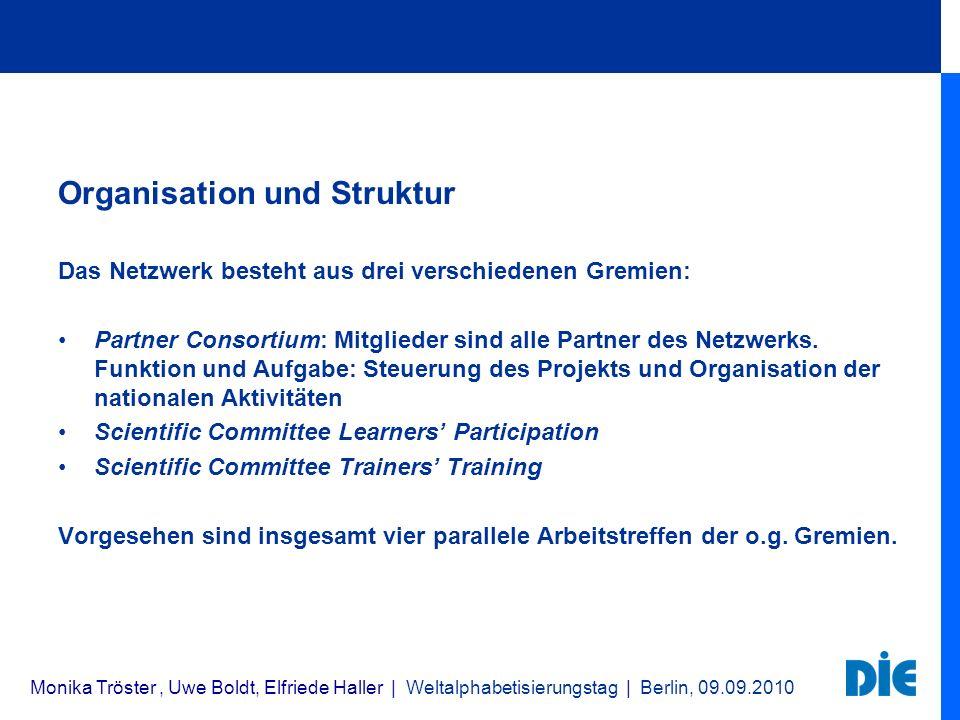 Organisation und Struktur Das Netzwerk besteht aus drei verschiedenen Gremien: Partner Consortium: Mitglieder sind alle Partner des Netzwerks. Funktio