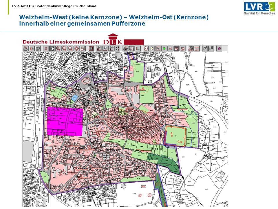 LVR-Amt für Bodendenkmalpflege im Rheinland Welzheim-West (keine Kernzone) – Welzheim-Ost (Kernzone) innerhalb einer gemeinsamen Pufferzone