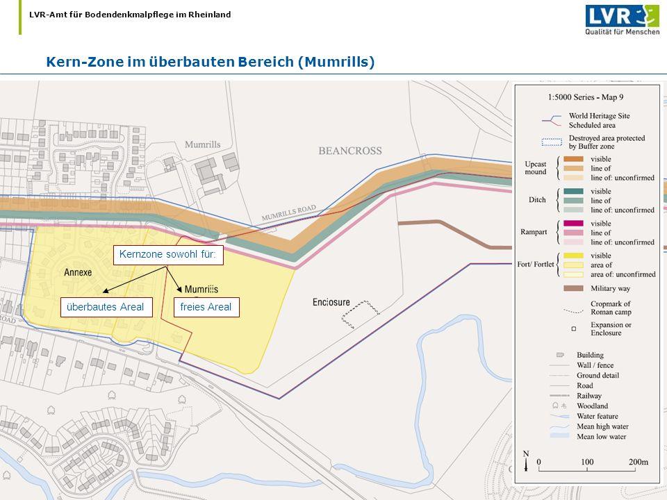 LVR-Amt für Bodendenkmalpflege im Rheinland Kern-Zone im überbauten Bereich (Mumrills) Kernzone sowohl für: überbautes Arealfreies Areal