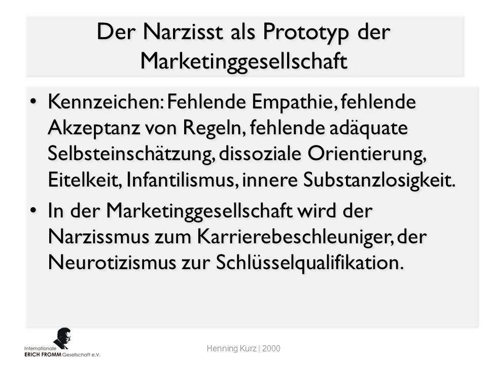 Der Narzisst als Prototyp der Marketinggesellschaft Kennzeichen: Fehlende Empathie, fehlende Akzeptanz von Regeln, fehlende adäquate Selbsteinschätzun