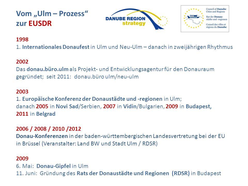 Vom Ulm – Prozess zur EUSDR 1998 1. Internationales Donaufest in Ulm und Neu-Ulm – danach in zweijährigen Rhythmus 2002 Das donau.büro.ulm als Projekt