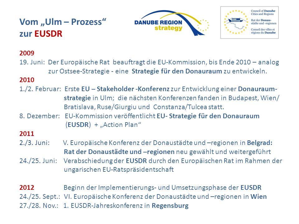 Vom Ulm – Prozess zur EUSDR 2009 19. Juni: Der Europäische Rat beauftragt die EU-Kommission, bis Ende 2010 – analog zur Ostsee-Strategie - eine Strate