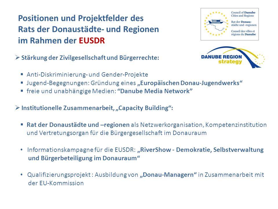 Positionen und Projektfelder des Rats der Donaustädte- und Regionen im Rahmen der EUSDR Stärkung der Zivilgesellschaft und Bürgerrechte: Anti-Diskrimi