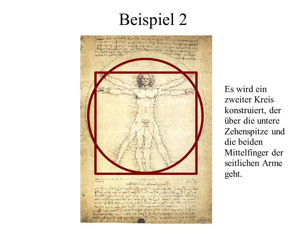 Es wird ein zweiter Kreis konstruiert, der über die untere Zehenspitze und die beiden Mittelfinger der seitlichen Arme geht.