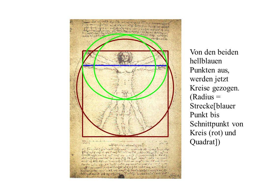 Von den beiden hellblauen Punkten aus, werden jetzt Kreise gezogen. (Radius = Strecke[blauer Punkt bis Schnittpunkt von Kreis (rot) und Quadrat])